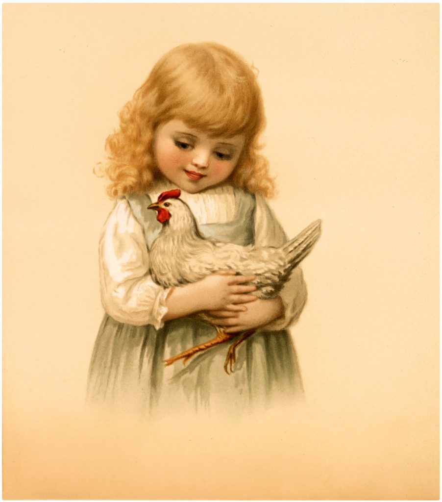 Vintage Girl with Chicken Free Stock Image