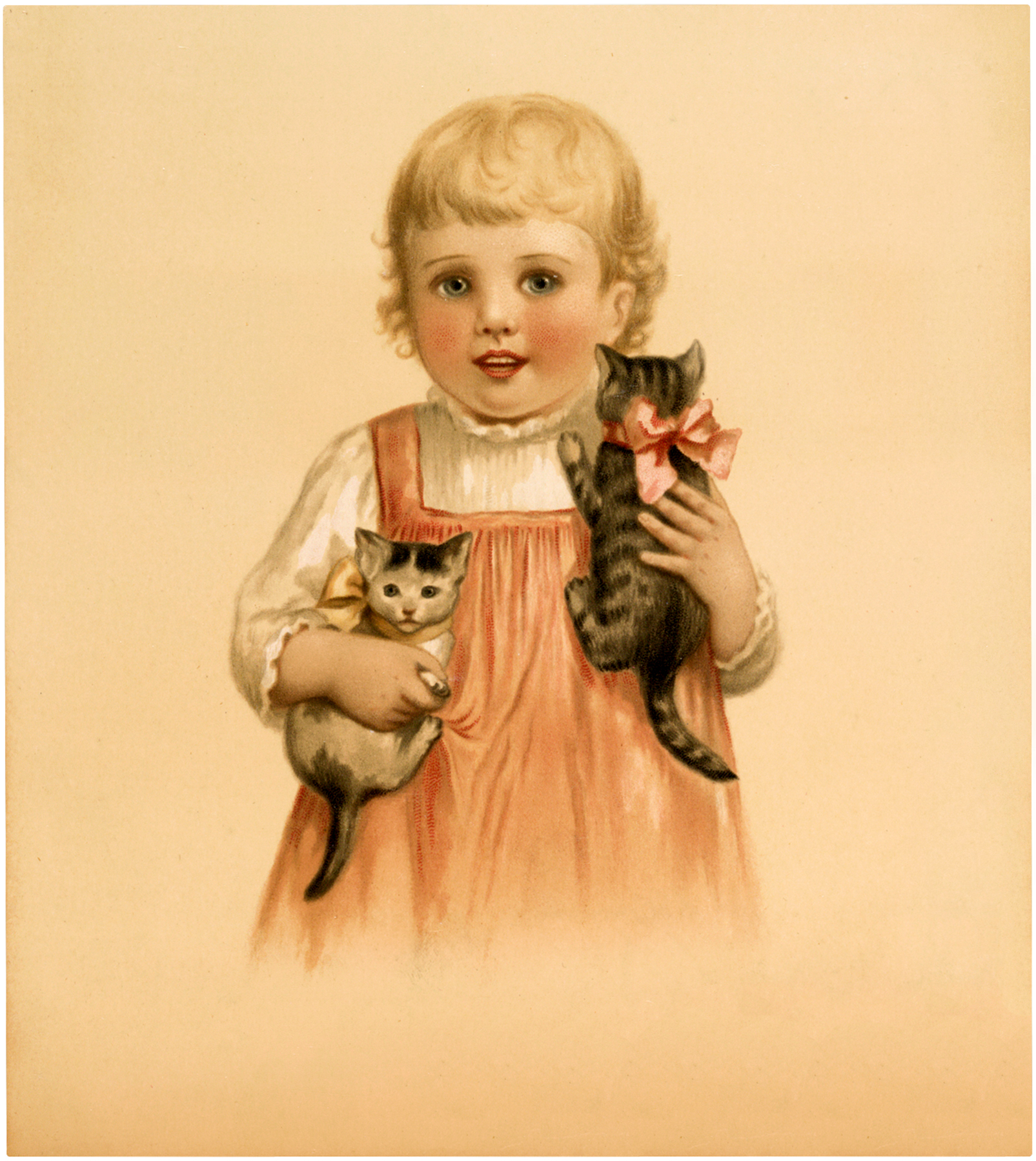 Vintage Girl with Kittens Stock Image