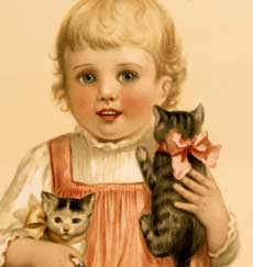 Adorable Vintage Girl with Kittens Stock Image!