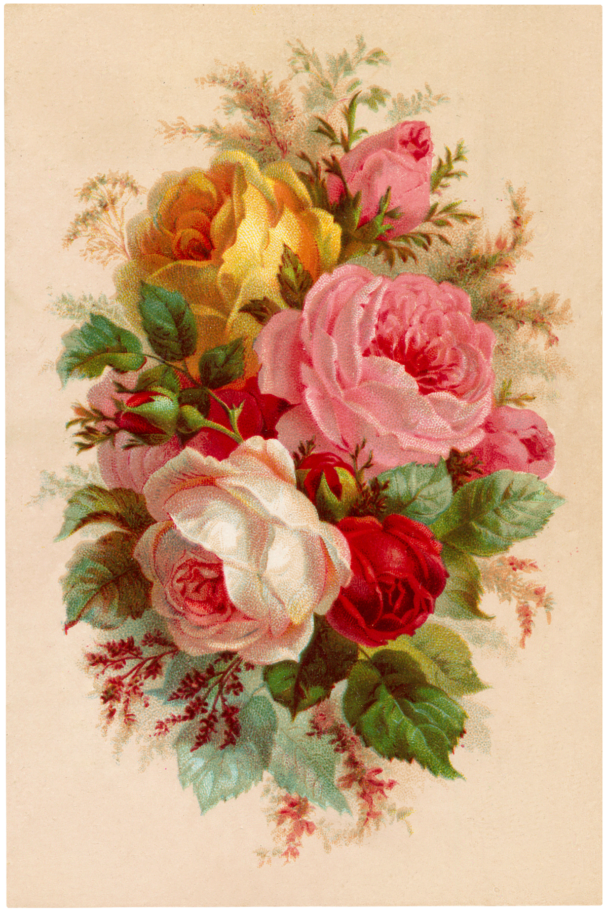 Beautiful Vintage Roses Bouquet Image!  The Graphics Fairy -> Vintage Kommode Rosa