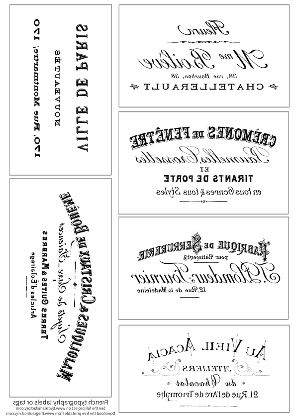 French Typography Labels Reverse