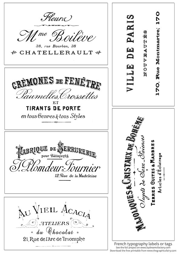French Typography Labels