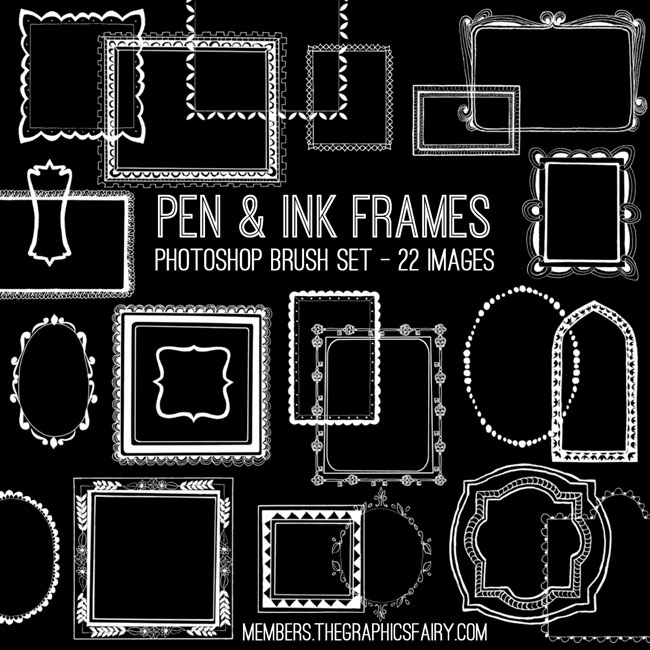 pen_ink_frames_brushes_graphicsfairy