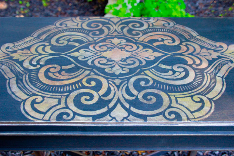 21 How to use Metallic Gel Stains on Furniture Thicketworks for Heirloom Traditions at The Graphics Fairy Stencil Detail