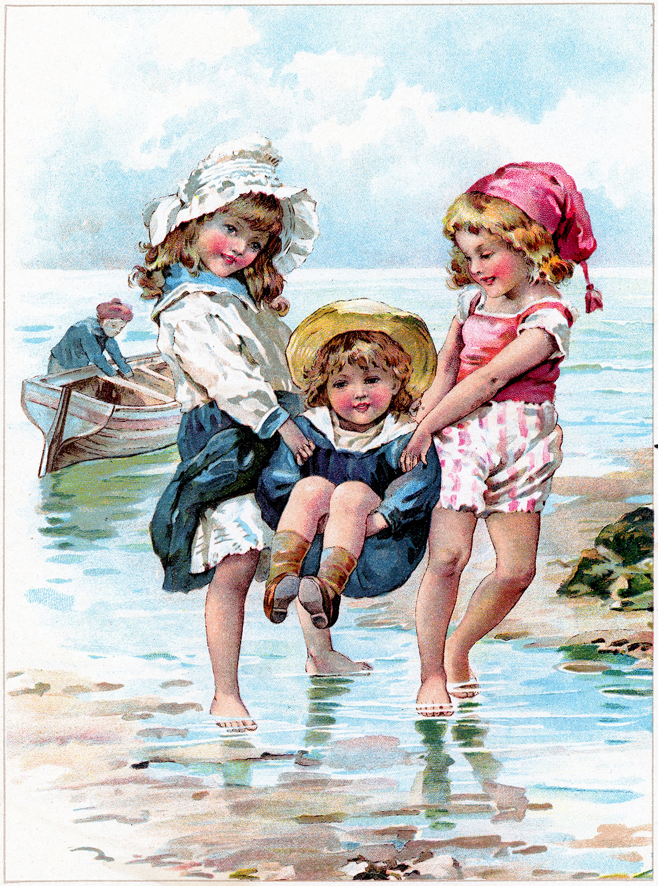Children Playing in Ocean Image