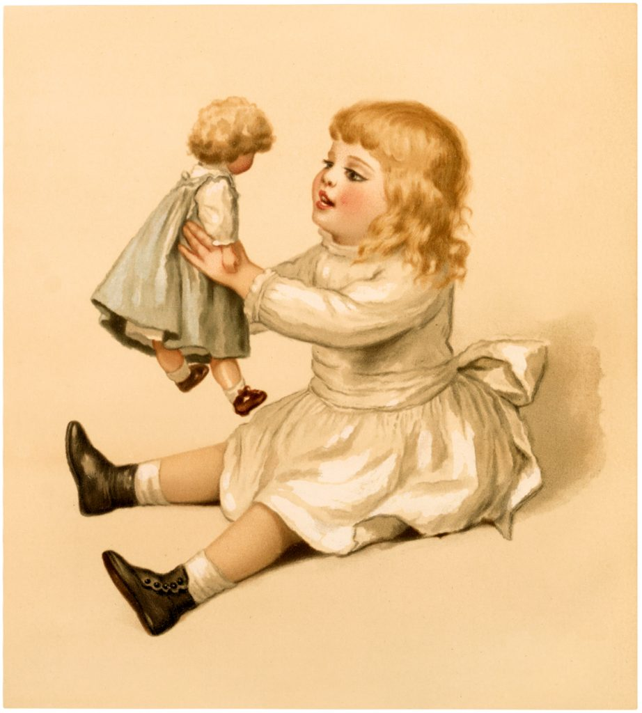 Vintage Girl with Doll Image