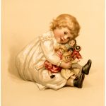 Vintage Girl with Dolls Image
