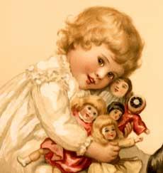 Vintage Girl with Dolls Image!