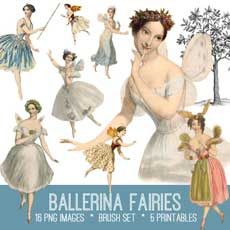 Beautiful Ballerina Fairies Image Kit! Graphics Fairy Premium