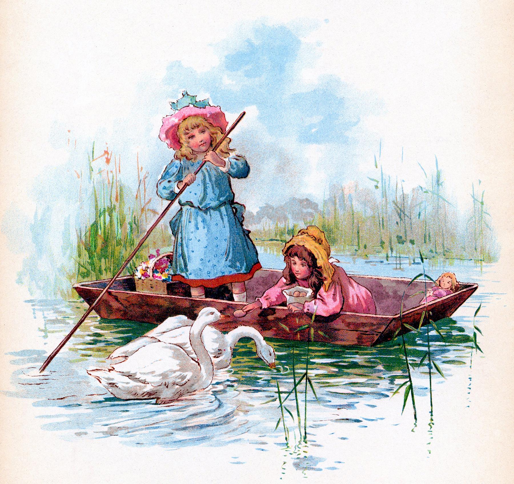 Children Feeding Swans Image