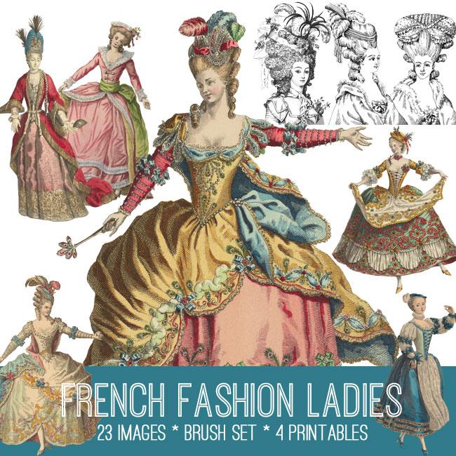 French Fashion Ladies Image Kit