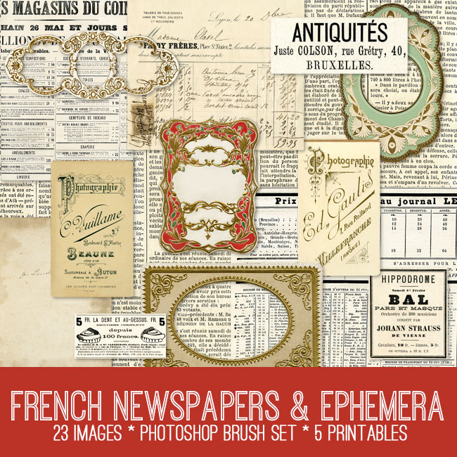 French Newspapers Ephemera Kit