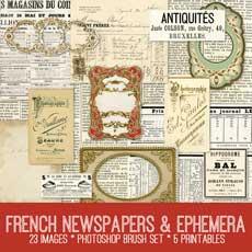 French Newspapers and Ephemera Kit! Graphics Fairy Premium