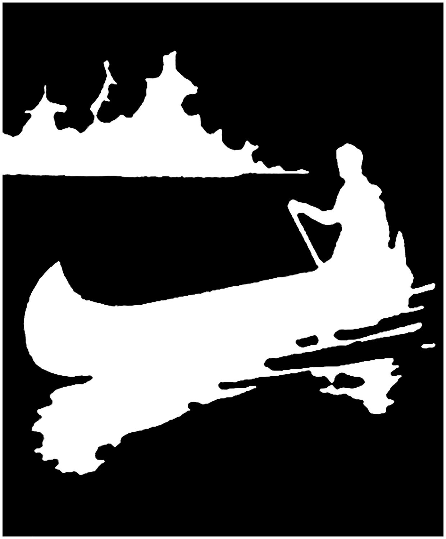 Vintage Canoe Silhouette Image