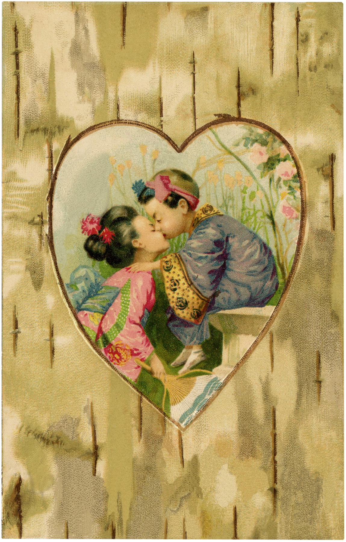 Vintage Children Kissing Image Asian Themed Art The