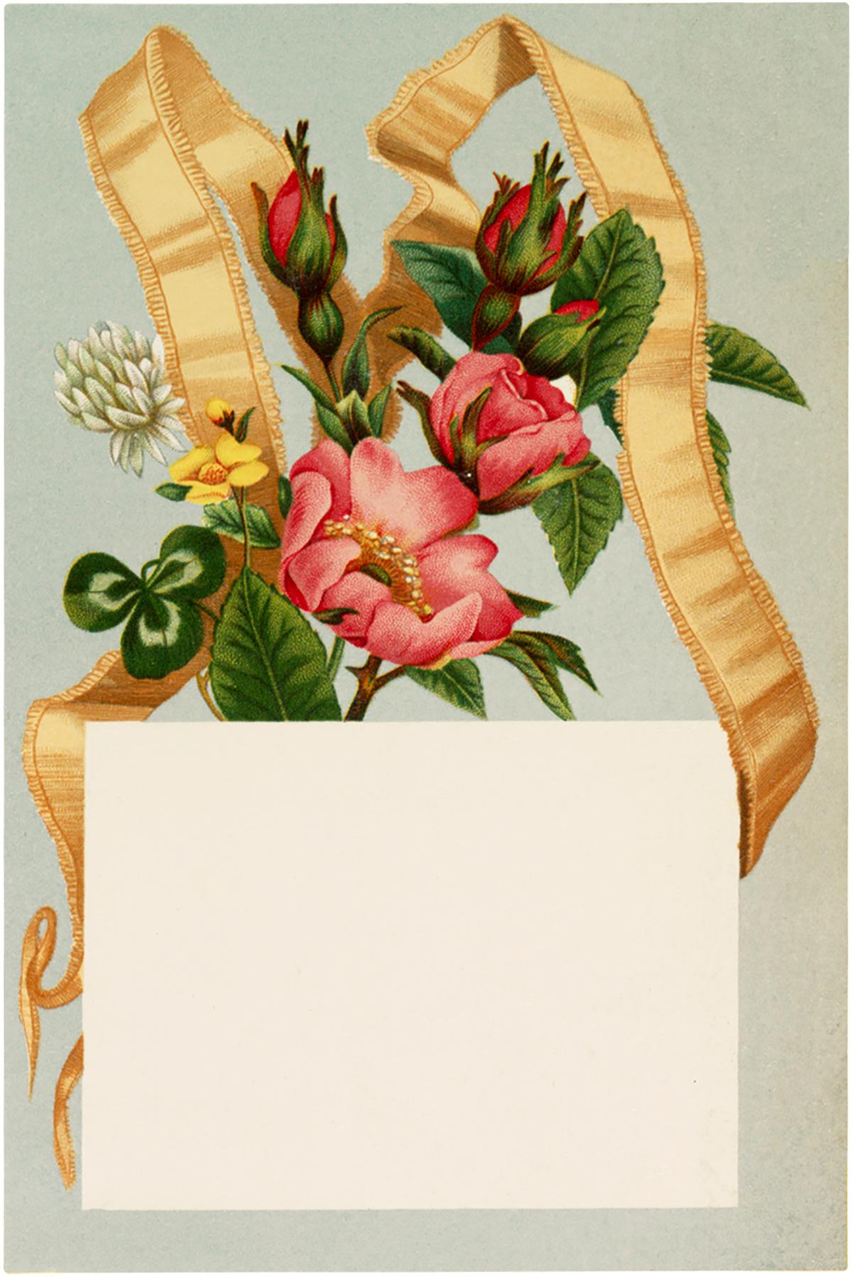 Vintage Floral Ribbon Label Image