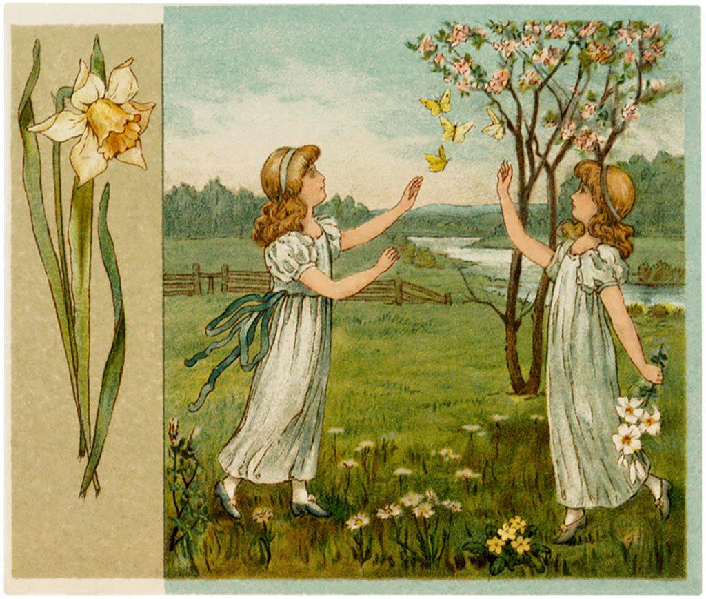Antique Flower Children Image