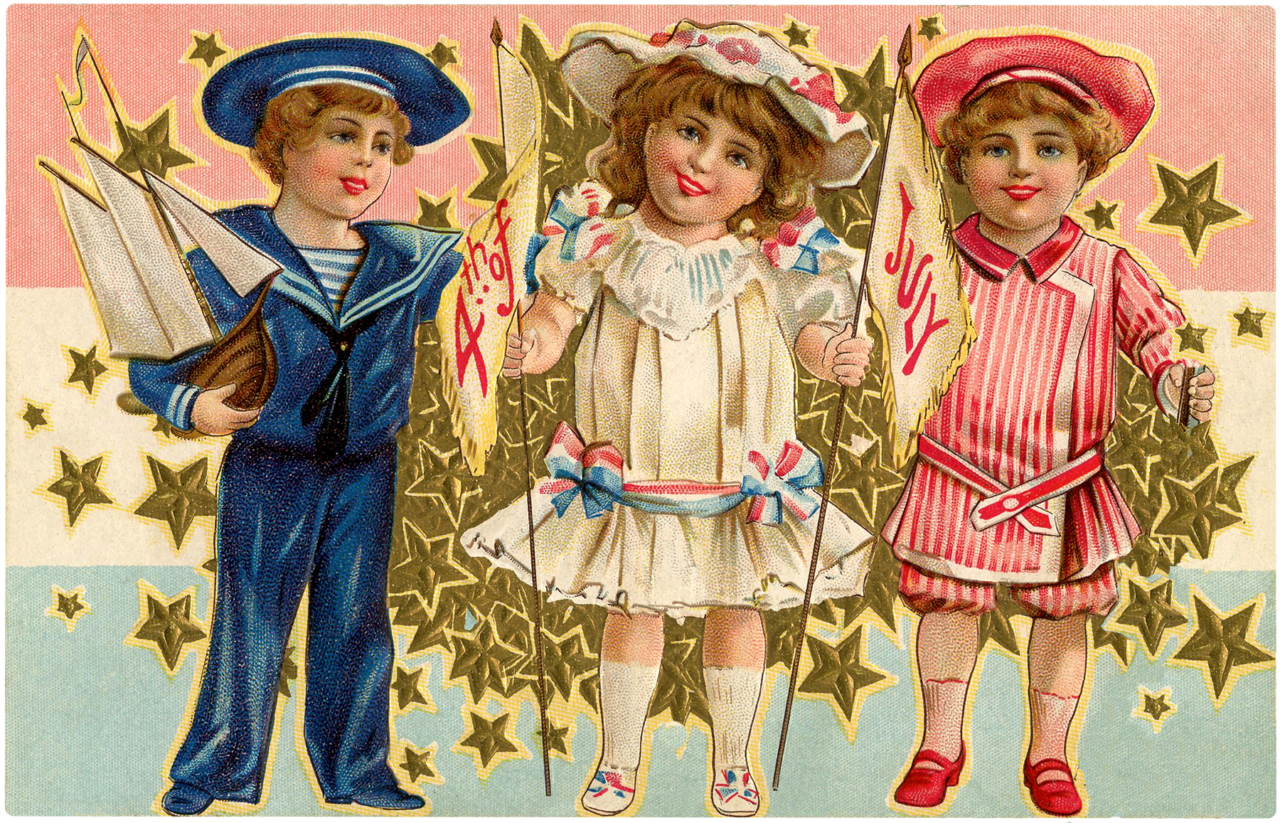 Vintage July 4th Kids Image