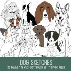 Dog Sketches Image Kit! Graphics Fairy Premium Membership Site