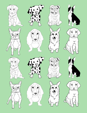 dogs_mini_wrapping_paper_mint_graphicsfairy