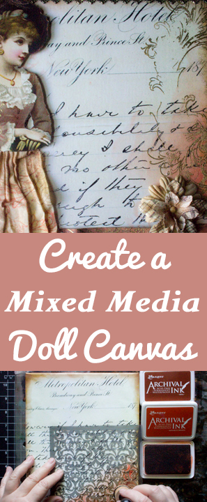 Create a Mixed Media Paper Doll Canvas