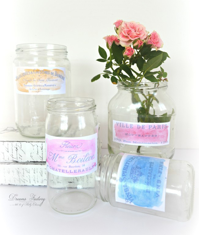 Make French Watercolor Labels by Dreams Factory for Graphics Fairy