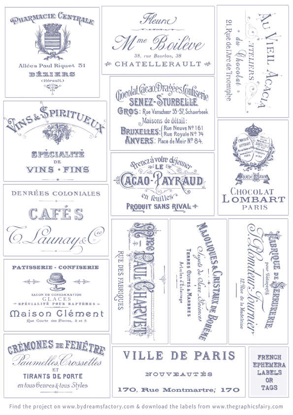 French Ephemera Labels Dreamsfactory Graphics Fairy