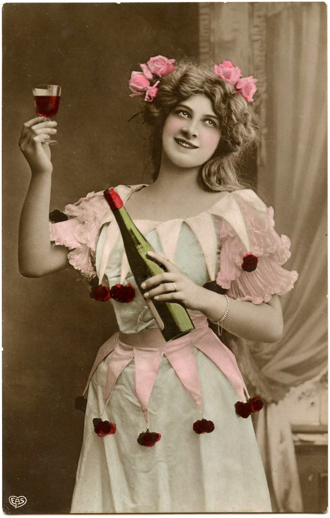 Victorian Toasting Wine Lady