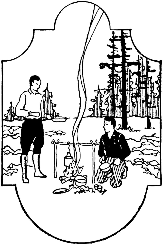 Vintage Men Camping Image