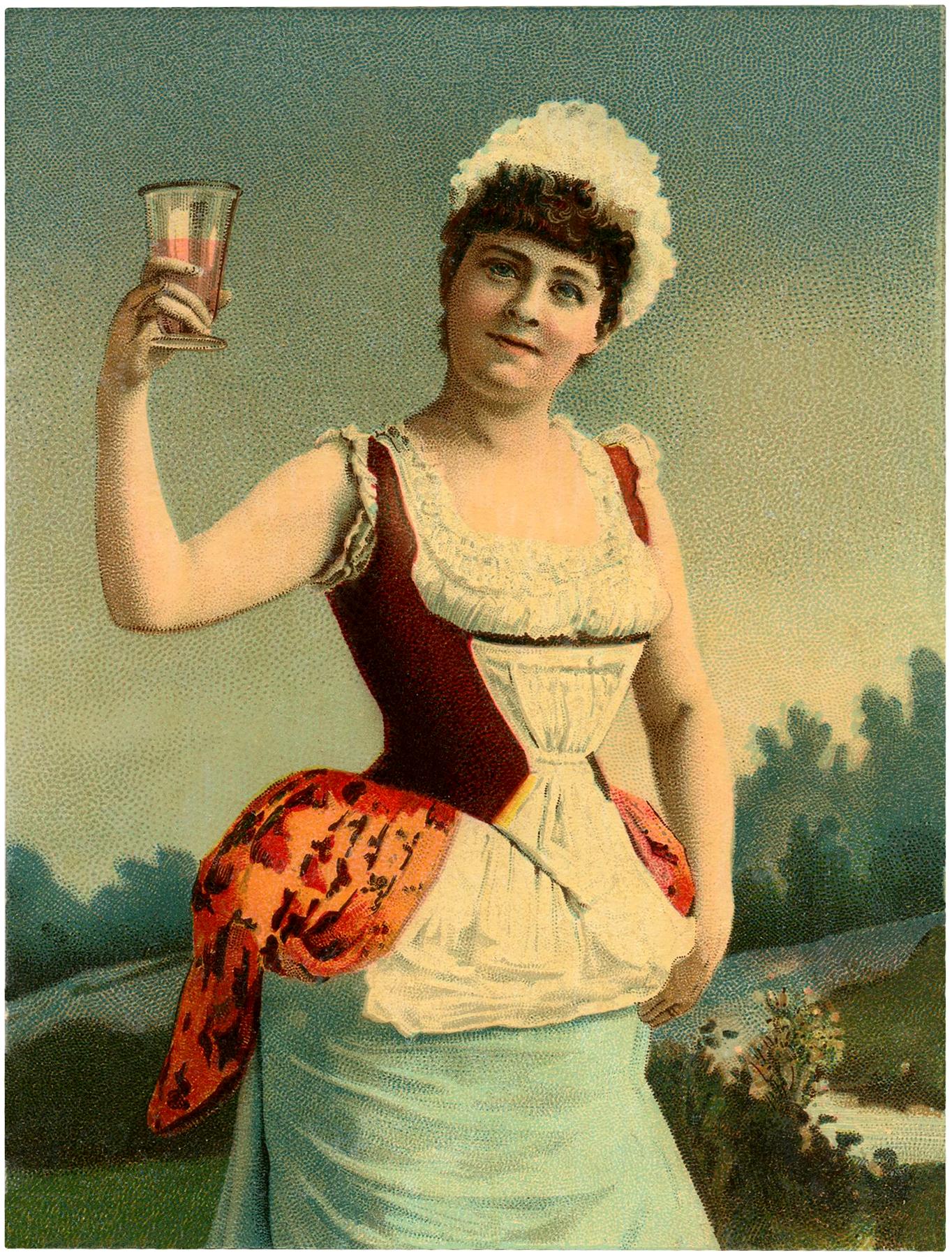 Vintage Woman Toasting Image
