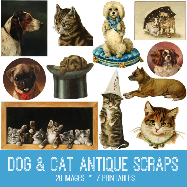 Dog & Cat Antique Scraps