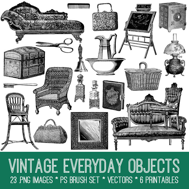 Vintage Everyday Objects Image Kit