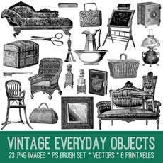 Vintage Everyday Objects Image Kit! Graphics Fairy Premium Membership site
