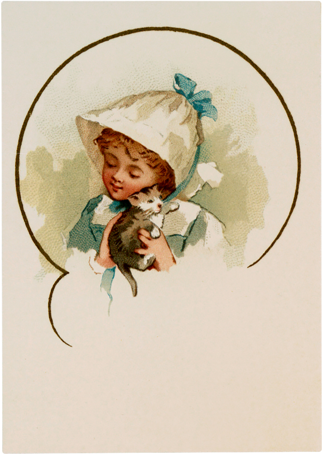 Girl with Kitten Image