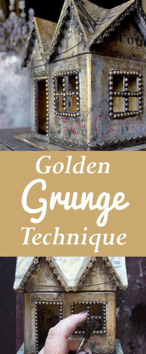 Golden Grunge Decoupage Technique