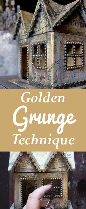 Golden Grunge Decoupage Technique