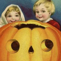 Halloween Pumpkin with Boy and girl