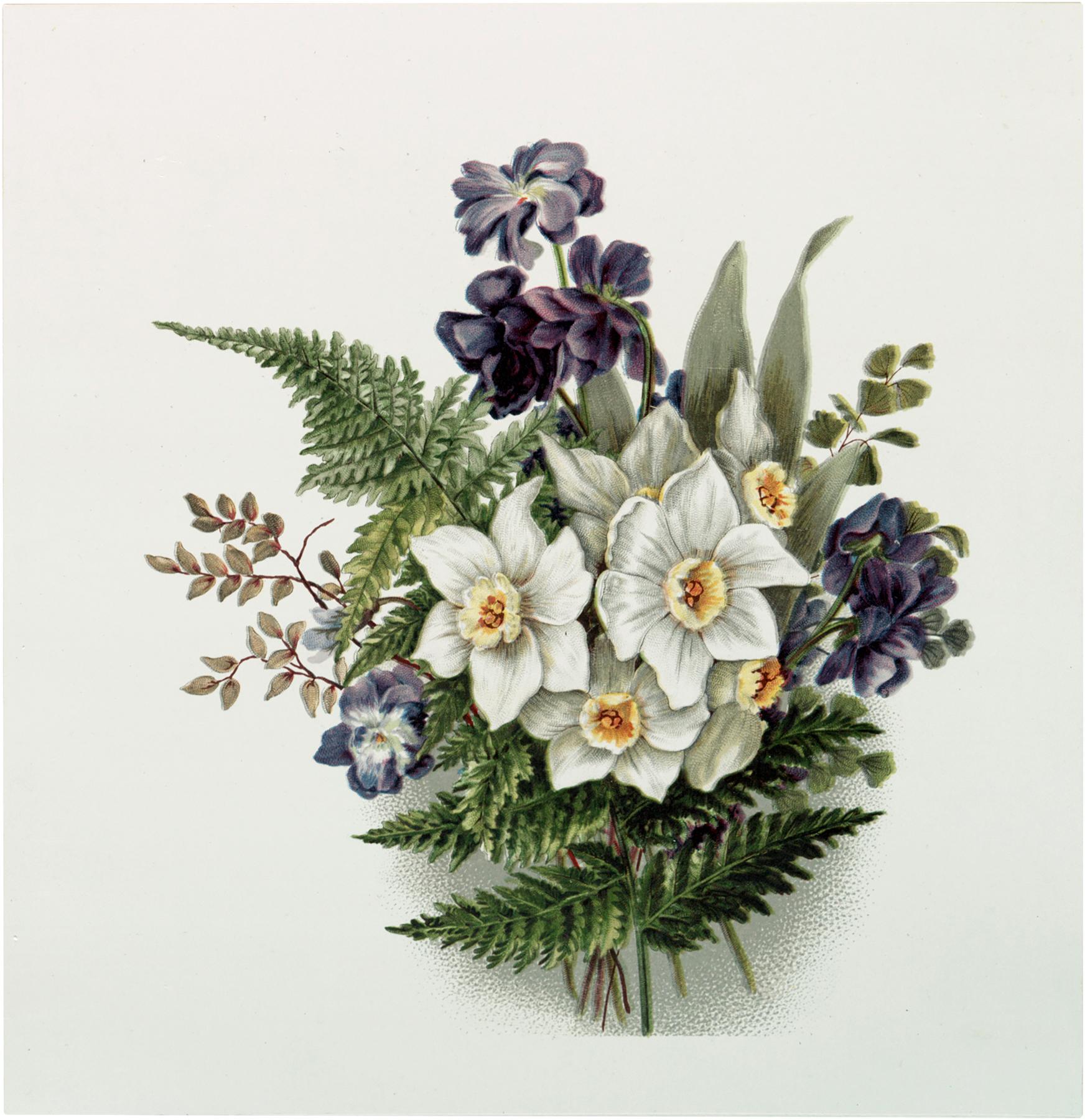 Vintage Lavender White Bouquet Download