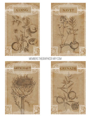 collage_sheet_french_fruit_veg_sepia_graphicsfairy