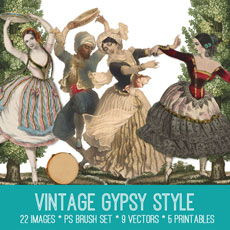 Vintage Gypsy Kit – Our 100th Kit!! Graphics Fairy Premium Membership