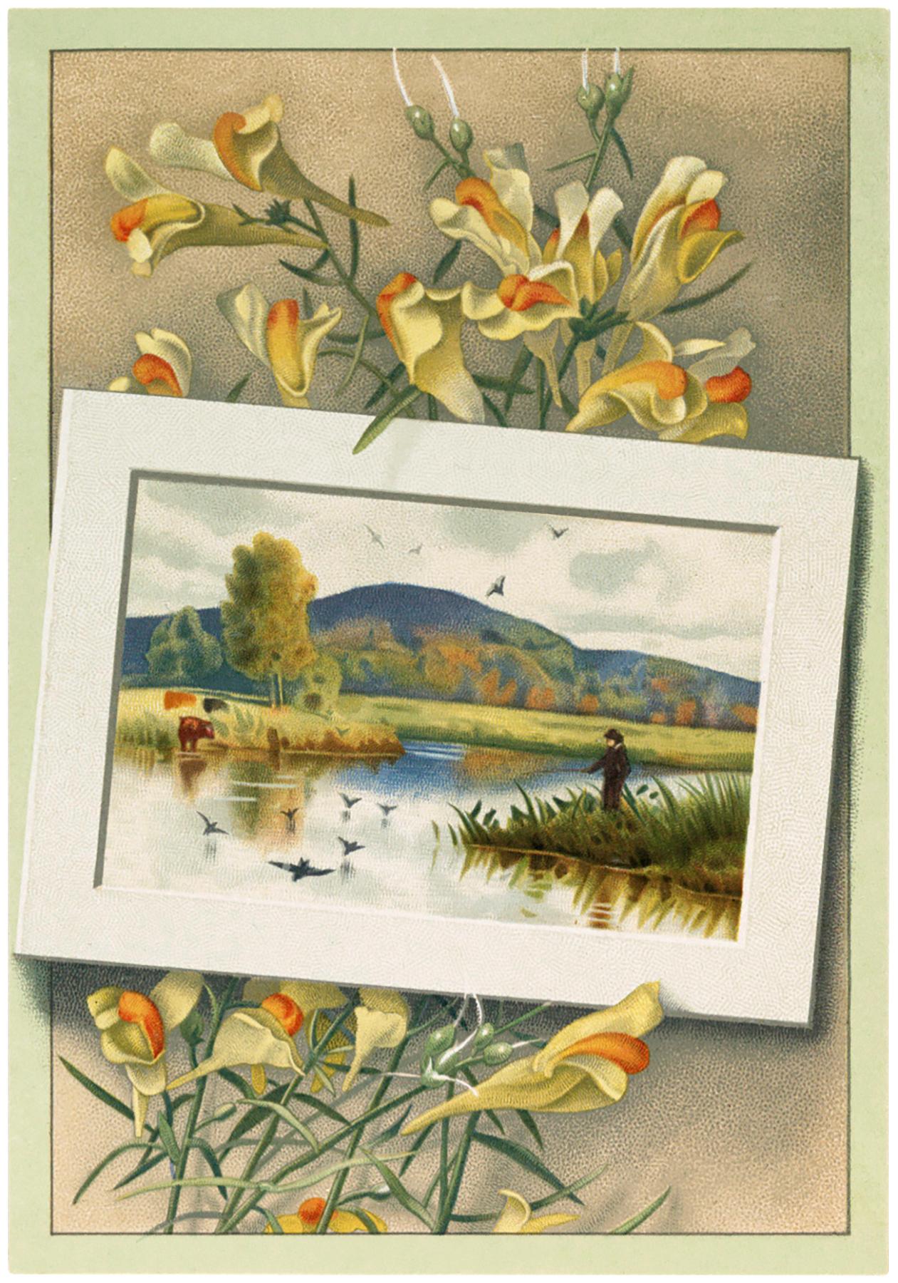 Vintage Floral Landscape Image