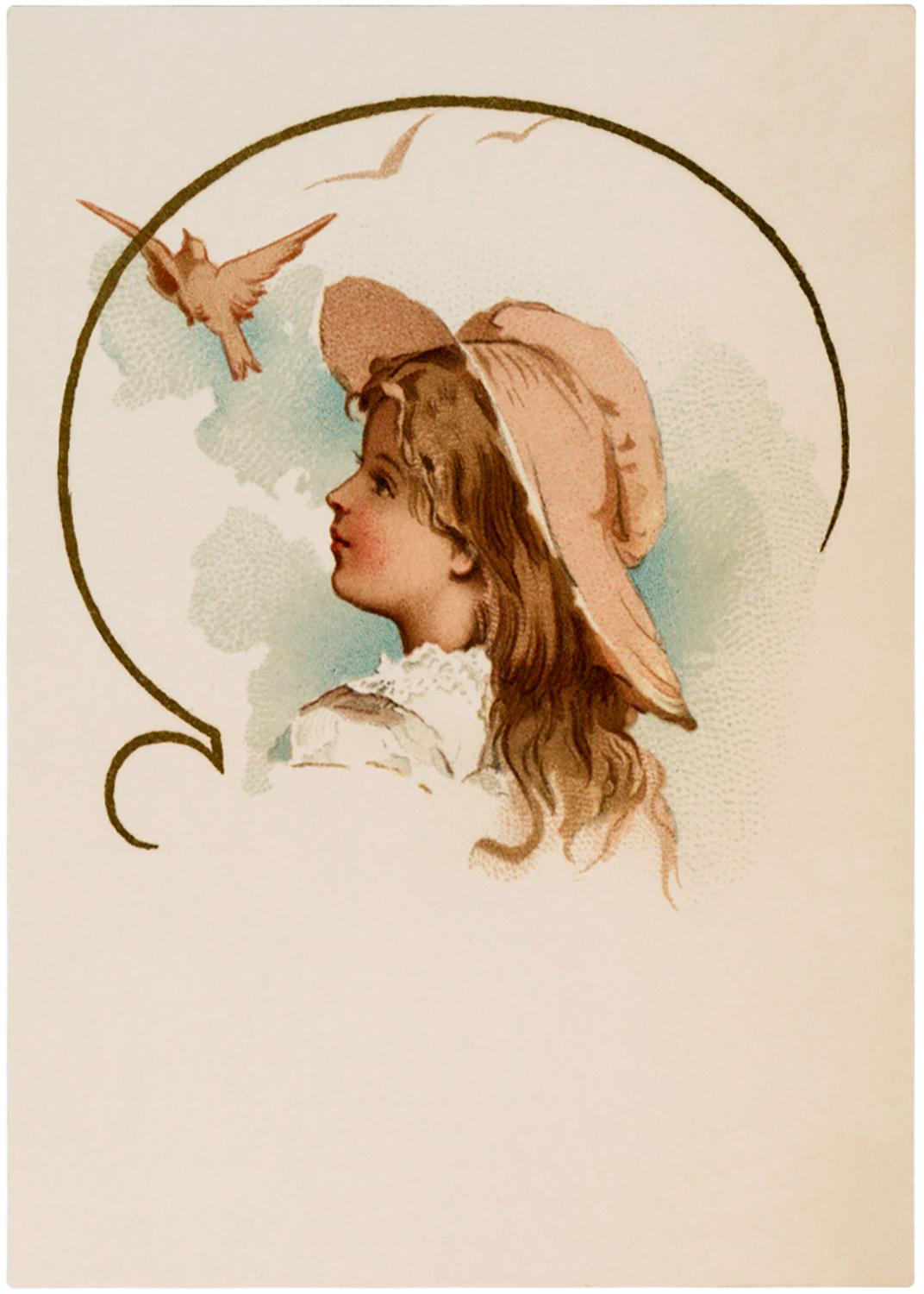 Vintage Girl with Bird Image