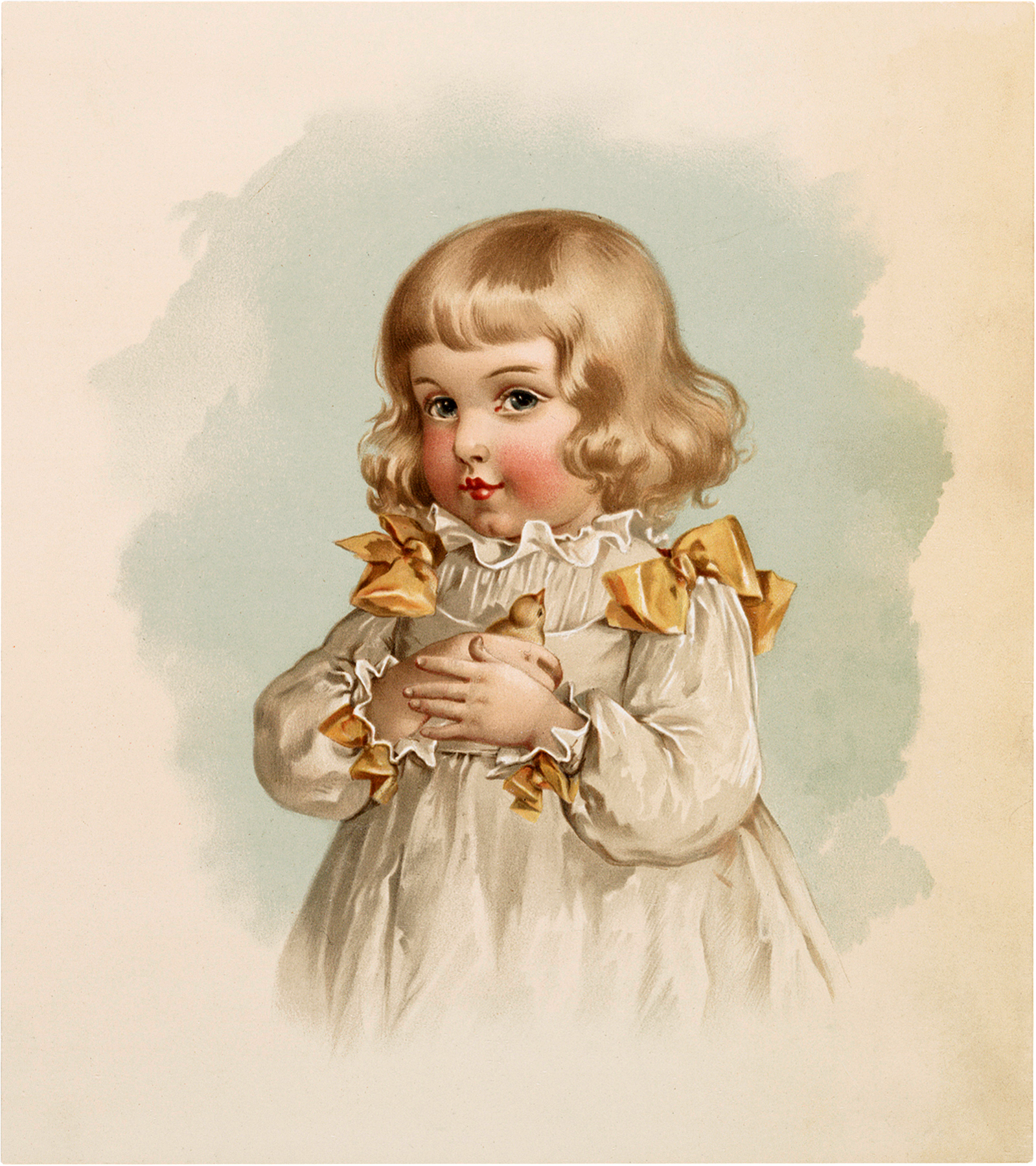 Vintage Girl with Chick Image