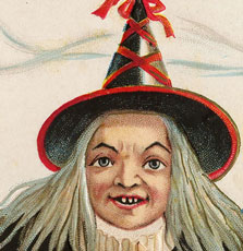 Vintage Halloween Old Witch Image!