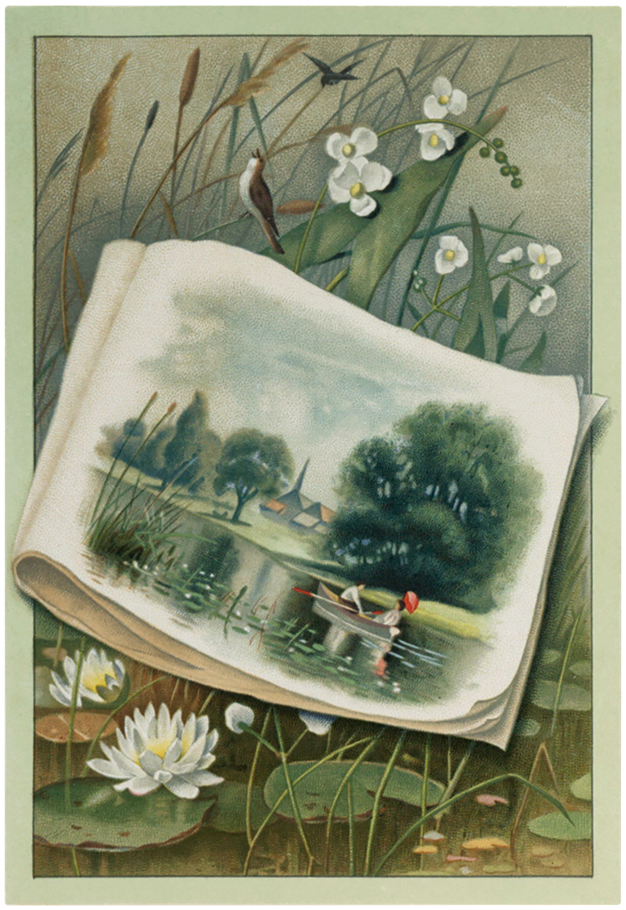 Vintage Pond Landscape Scene