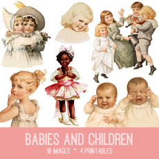 Vintage Babies and Children Image Kit! Graphics Fairy Premium Membership site