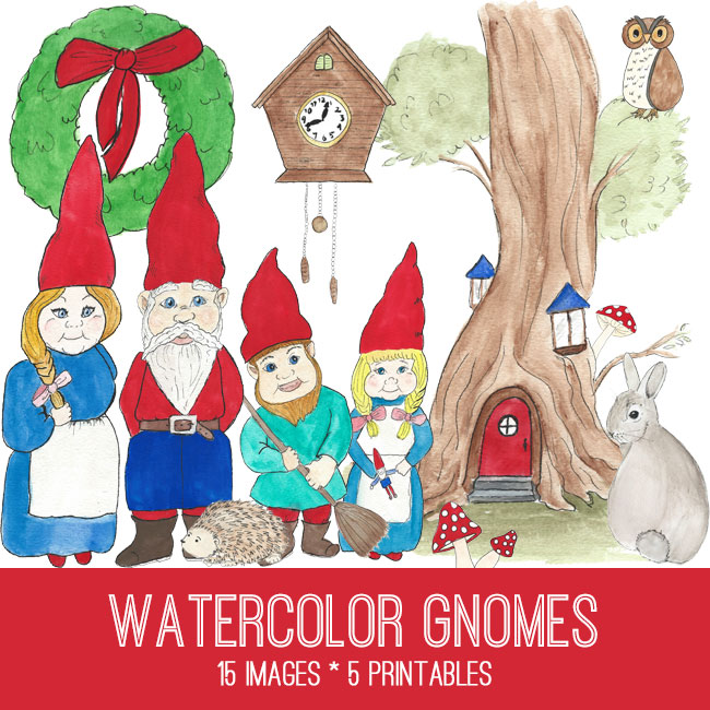 Gnomes Watercolor Image Kit