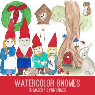 Gnomes Watercolor Image Kit! Graphics Fairy Premium Membership