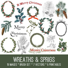 Holiday Wreaths and Sprigs Image Kit! – Graphics Fairy Premium Membership