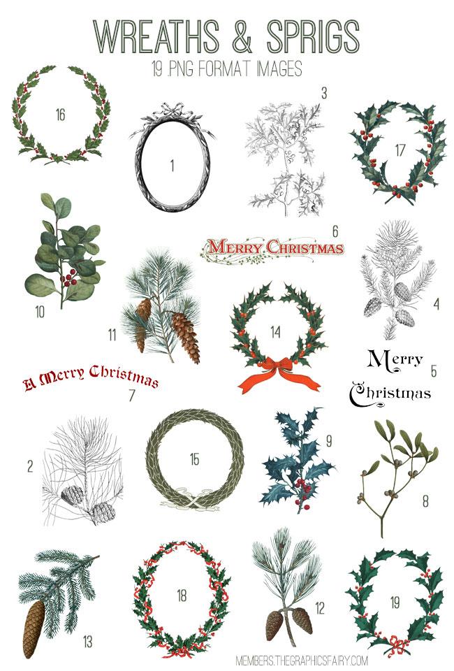 Holiday Wreaths Image Kit